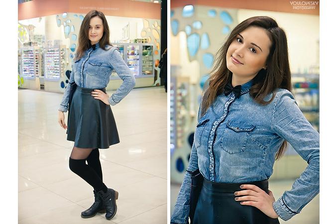 Фото джинсовая рубашка и кожаная юбка