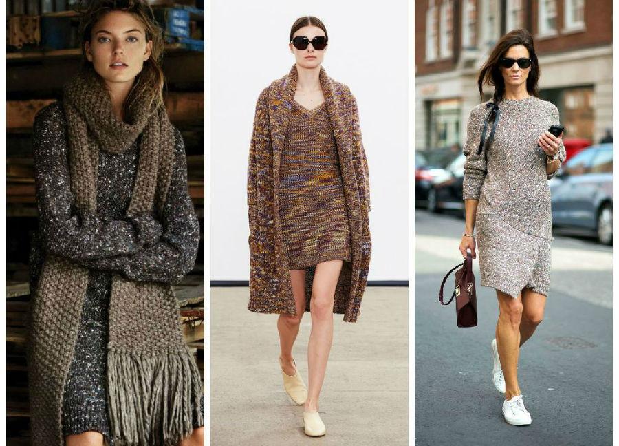 Вязаные платья с чем одеть фото
