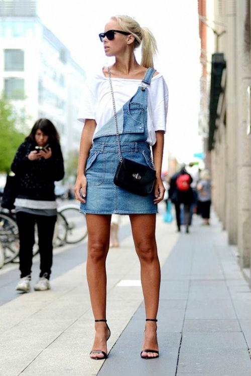 Джинсовый комбинезон юбка фото